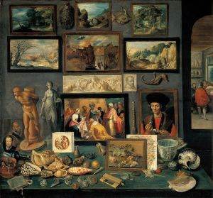 A corner of a cabinet, painted by Frans II Francken in 1636